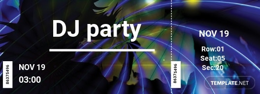 DJ Party Ticket Template