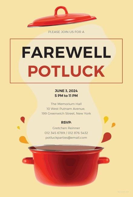 Free Farewell Potluck Invitation Template Free Templates