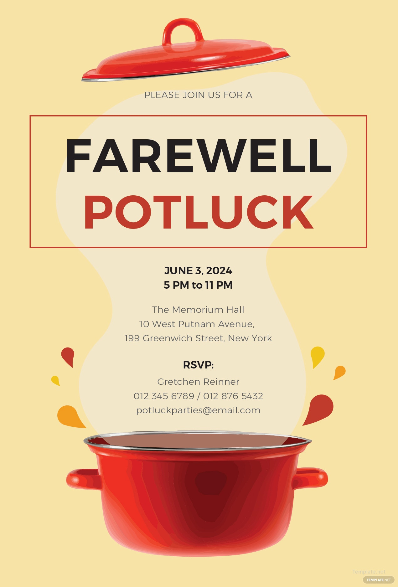 free farewell potluck invitation template in ms word