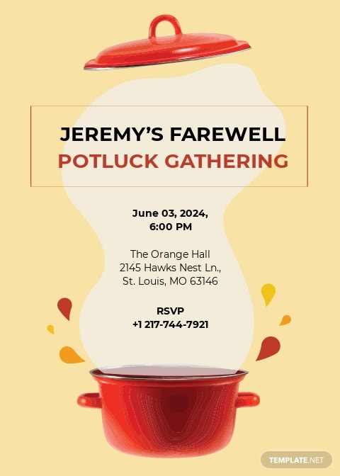 Farewell Potluck Invitation Template