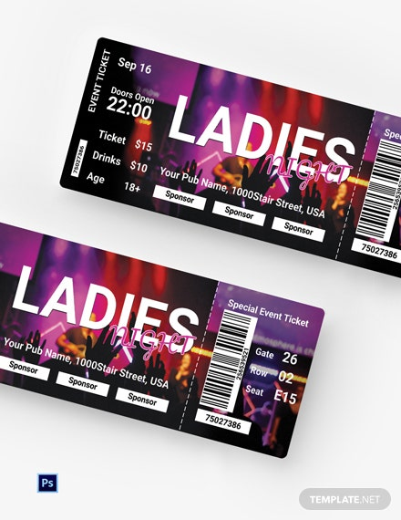 Free Ladies Night Ticket Template