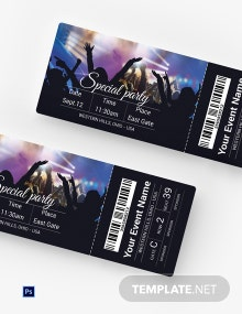 Free Special Party Ticket Template