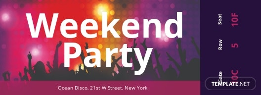 Weekend Party Ticket Template