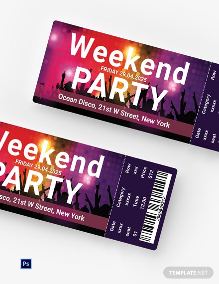 Free Weekend Party Ticket Template