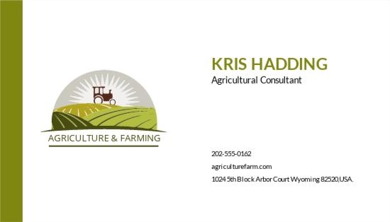 Farming Business Card Template