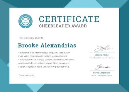 Free Cheerleader Award Certificate Template