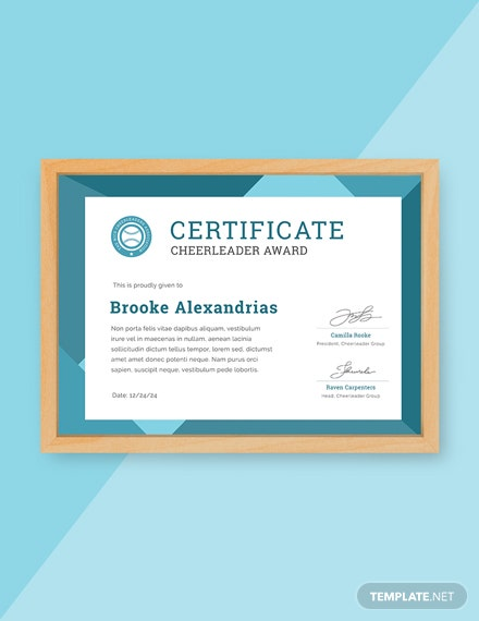 Free Cheerleader Award Certificate Template
