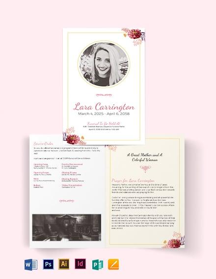 Blank Loving Memory Funeral Bi-Fold Brochure Template