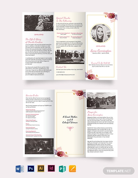 Blank loving memory funeral trifold brochure template