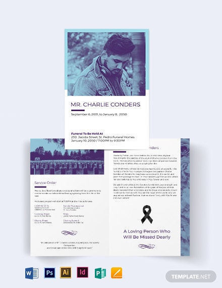 Catholic Funeral Home Bi-Fold Brochure Template