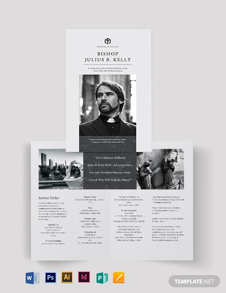 Church Funeral Memorial Bi-Fold Brochure Template