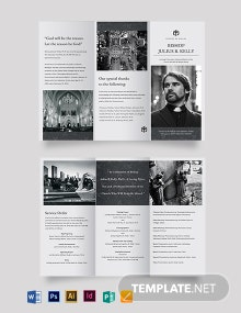 Church Funeral Memorial Tri-Fold Brochure Template
