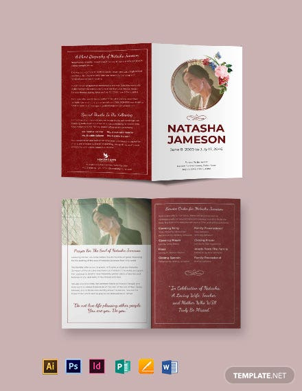 Church Funeral Program Bi-Fold Brochure Template