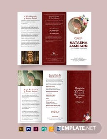 Church Funeral Program Tri-Fold Brochure Template