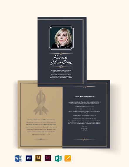 Classic Funeral Memorial Bi-Fold Brochure Template
