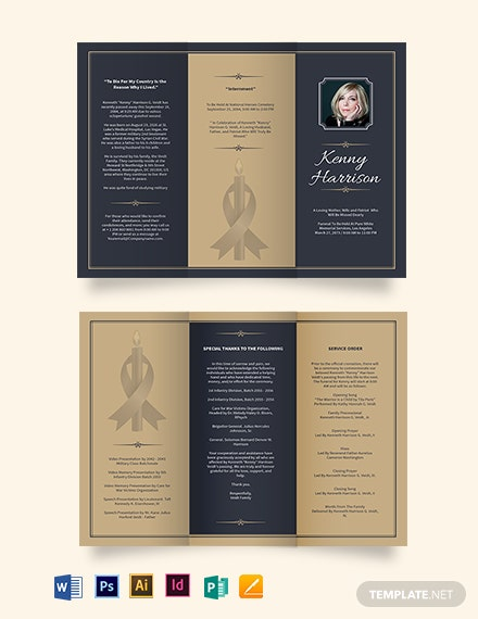 Classic Funeral Memorial TriFold Brochure Template