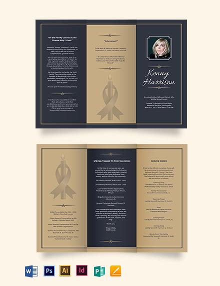 Classic Funeral Memorial Tri-Fold Brochure Template