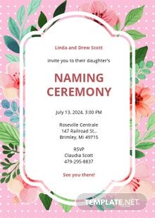 Free Baby Girl Naming Ceremony Invitation Template