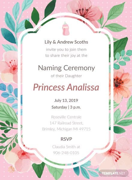 Free baby naming ceremony invitation template in adobe illustrator free baby girl naming ceremony invitation template maxwellsz