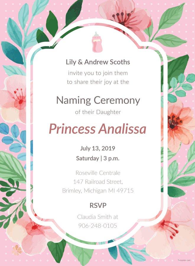 Free Baby Girl Naming Ceremony Invitation Template Adobe