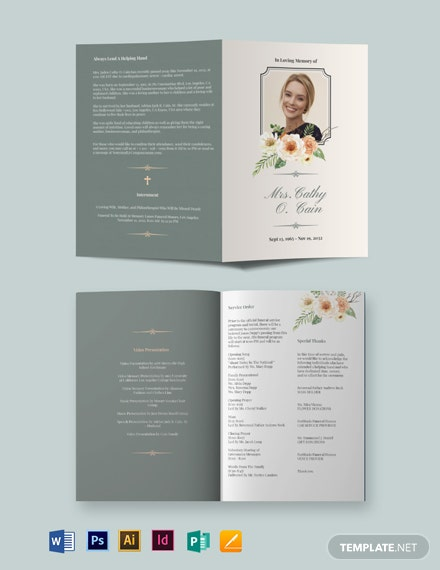 Classic Funeral Program BiFold Brochure Template