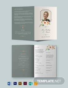 Classic Funeral Program Bi-Fold Brochure Template