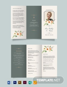 Classic Funeral Program Tri-Fold Brochure Template