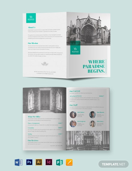 Cremation Funeral Service BiFold Brochure Template