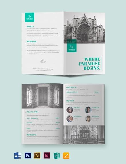Cremation Funeral Service Bi-Fold Brochure Template
