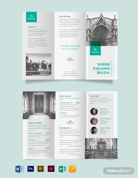 Cremation Funeral Service Tri-Fold Brochure Template
