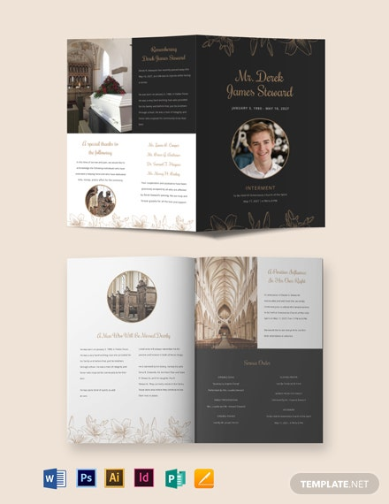 Editable Acknowledgment Funeral Bi-Fold Brochure Template