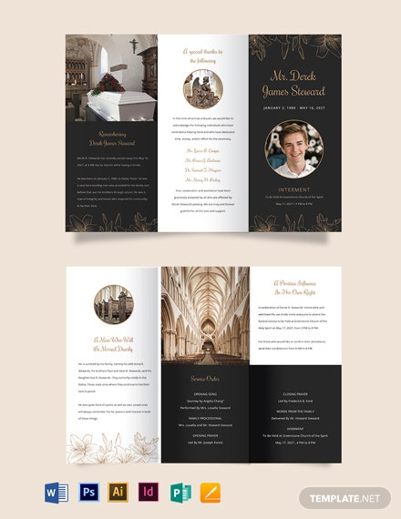 Editable Acknowledgment Funeral Tri-Fold Brochure Template