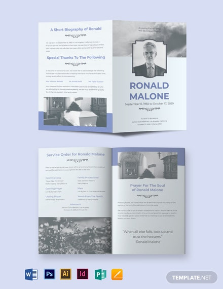 Editable Funeral Plan Bi-Fold Brochure Template