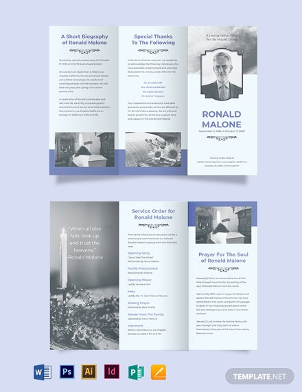 Editable Funeral Plan Tri-Fold Brochure Template