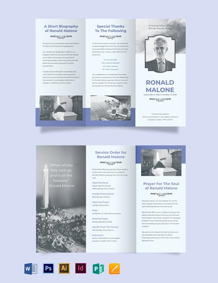 Editable Funeral Plan Tri-Fold Brochure Template