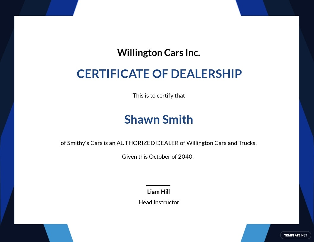 Dealership Completion Certificate Template