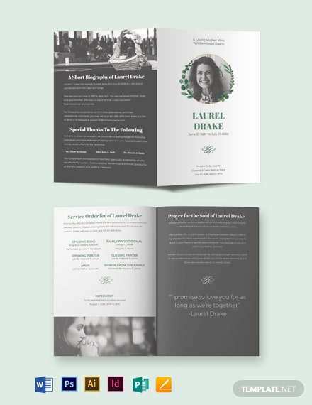 Elegant Funeral Program Bi-Fold Brochure Template