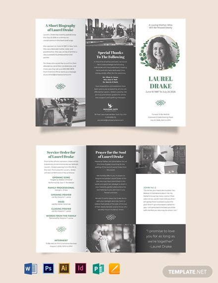 Elegant Funeral Program Tri-Fold Brochure Template
