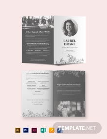 Eulogy Booklet Funeral Bi-Fold Brochure Template