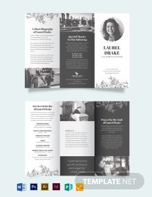 Eulogy Booklet Funeral Tri-Fold Brochure Template
