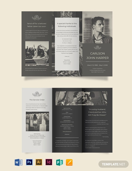 Father/ Dad Eulogy Funeral Tri-Fold Brochure Template