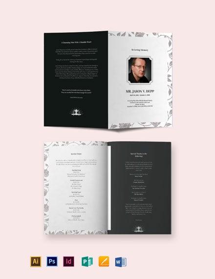 Father/ Dad Funeral Memorial Bi-Fold Brochure Template