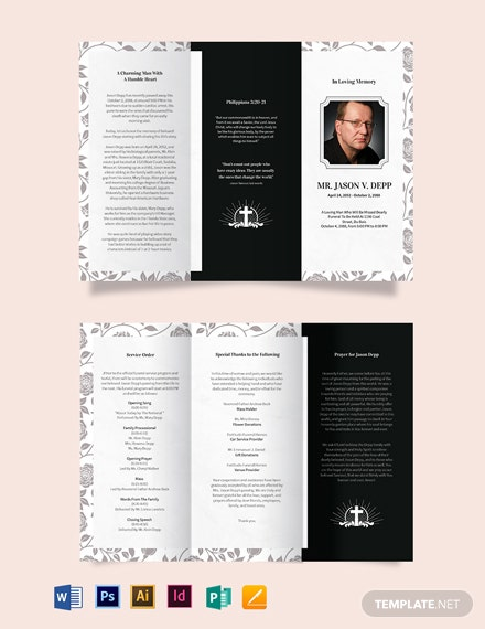 Father Dad Funeral Memorial TriFold Brochure Template