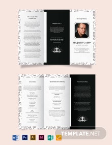 Father/ Dad Funeral Memorial Tri-Fold Brochure Template