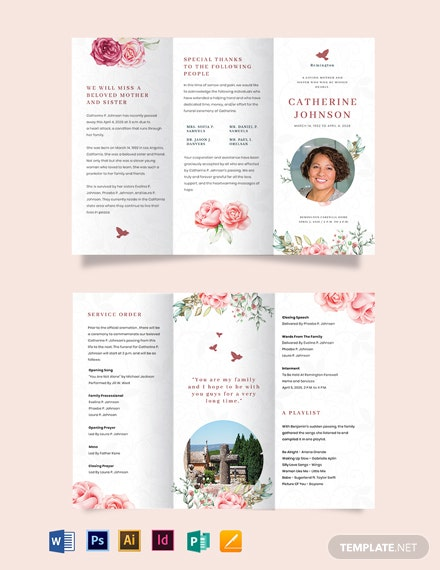 Floral Eulogy Funeral Tri-Fold Brochure Template