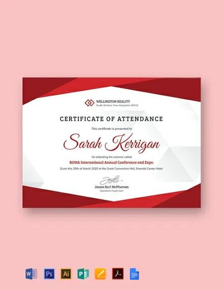 Free Employee Attendance Certificate Template