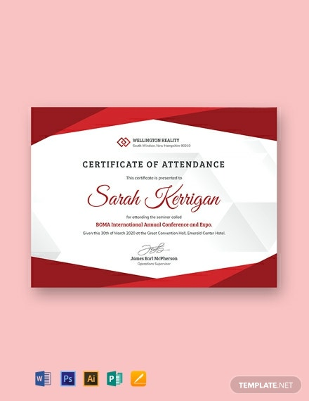 10  free attendance certificate templates