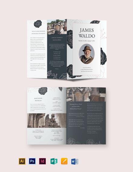 Floral Funeral Mass Bi-Fold Brochure Template