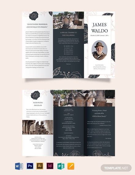 Floral Funeral Mass TriFold Brochure Template