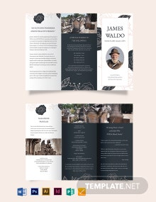 Floral Funeral Mass Tri-Fold Brochure Template